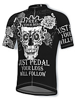 cheap -21Grams Men's Short Sleeve Cycling Jersey Spandex Black Skull Bike Top Mountain Bike MTB Road Bike Cycling Breathable Quick Dry Sports Clothing Apparel / Athleisure