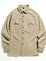 cheap -Men's Hiking Jacket Hiking Shirt / Button Down Shirts Long Sleeve Crew Neck Shirt Coat Top Outdoor Quick Dry Lightweight Breathable Sweat wicking Autumn / Fall Spring Summer Cotton Solid Color Dark