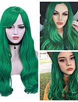 cheap -Synthetic Wig Deep Wave Side Part Wig Medium Length Brown / Burgundy Black Red Mint Green Synthetic Hair Women's Cosplay Party Fashion Red Green