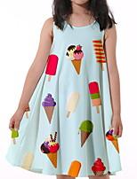 cheap -Kids Little Girls' Dress Graphic Print Light Blue Knee-length Sleeveless Flower Active Dresses Regular Fit 5-12 Years