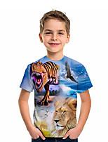 cheap -Kids Boys' T shirt Short Sleeve Lion Dinosaur Animal Daily Wear Print Children Summer Tops Active Regular Fit Blue 4-12 Years