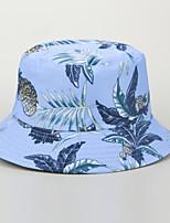 cheap -Men's Women's Fisherman Hat Hiking Cap 1 PCS Winter Outdoor Sunscreen Floral / Botanical Leaf Printing Cotton White Black Blue for Fishing Beach Camping / Hiking / Caving