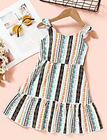 cheap -Kids Toddler Little Girls' Dress Striped Print Rainbow Knee-length Sleeveless Active Dresses Summer Regular Fit 2-8 Years