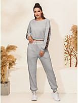 cheap -Women's Streetwear Leopard Going out Casual / Daily Two Piece Set Crop Sweatshirt Tracksuit Pant Jogger Pants Drawstring Print Tops