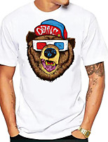 cheap -Men's Tees T shirt Hot Stamping Graphic Prints Bear Animal Print Short Sleeve Daily Tops Basic Casual White
