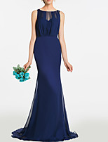 cheap -Mermaid / Trumpet Minimalist Elegant Engagement Formal Evening Dress Jewel Neck Sleeveless Sweep / Brush Train Chiffon with Pleats 2021