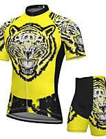 cheap -Men's Short Sleeve Cycling Jersey with Shorts Spandex Black / Yellow Tiger Bike Breathable Quick Dry Sports Graphic Mountain Bike MTB Road Bike Cycling Clothing Apparel / Stretchy / Athletic