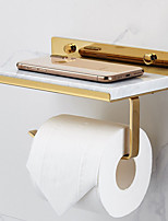 cheap -Bathroom Brass Marble Paper Towel Holder Toilet Roll Holder Creative Mobile Phone Rack Simple Toilet Paper Holder