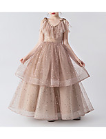 cheap -Princess / Ball Gown V Neck Floor Length Tulle Junior Bridesmaid Dress with Bow(s) / Tier