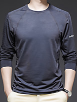 cheap -Men's T shirt Hiking Tee shirt Long Sleeve Tee Tshirt Top Outdoor Quick Dry Lightweight Breathable Stretchy Autumn / Fall Spring Summer Polyester Black Blue Grey Fishing Climbing Camping / Hiking