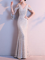 cheap -Mermaid / Trumpet Beautiful Back Sparkle Wedding Guest Formal Evening Dress V Neck Short Sleeve Floor Length Sequined with Sequin 2021