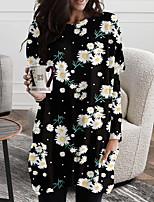 cheap -Women's Shift Dress Short Mini Dress Black Yellow Long Sleeve Floral Color Block Print Fall Spring Round Neck Casual Holiday 2021 S M L XL XXL 3XL