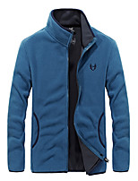 cheap -Men's Hiking Jacket Hiking Fleece Jacket Autumn / Fall Winter Spring Outdoor Solid Color Thermal Warm Windproof Quick Dry Lightweight Winter Fleece Jacket Top Hunting Fishing Climbing Black Red Blue