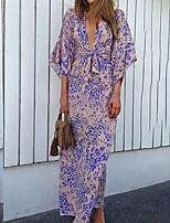 cheap -Women's Swing Dress Maxi long Dress Lavender 3/4 Length Sleeve Print Print Summer V Neck Sexy 2021 S M L XL