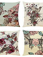cheap -Cushion Cover 4PC Linen Soft Animal Square Throw Pillow Cover Cushion Case Pillowcase for Sofa Bedroom 45 x 45 cm (18 x 18 Inch) Superior Quality Machine Washable