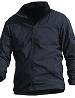 cheap -Men's Hunting Jacket Outdoor Waterproof Breathable Ventilation Front Zipper Fall Spring Summer Solid Colored Nylon Blue Grey Khaki