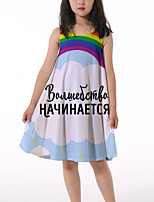 cheap -Kids Little Girls' Dress Rainbow Graphic Ruched Print Light Blue Knee-length Sleeveless 3D Print Cute Dresses Loose 4-13 Years