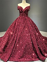 cheap -Ball Gown Luxurious Sparkle Engagement Prom Dress V Neck Short Sleeve Chapel Train Sequined with Pleats Sequin 2021