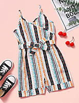 cheap -Kids Toddler Girls' Overall & Jumpsuit Striped Print Rainbow Active 2-8 Years