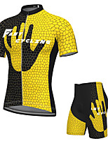 cheap -Men's Short Sleeve Cycling Jersey with Shorts Spandex Black / Yellow Bike Breathable Quick Dry Sports Graphic Mountain Bike MTB Road Bike Cycling Clothing Apparel / Stretchy / Athletic / Athleisure
