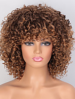 cheap -Afro Kinky Curly Wig Mixed Brown and Blonde Synthetic Short Wigs for Women High Temperature Red Hair with Bangs