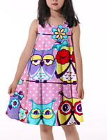 cheap -Kids Little Girls' Dress Owl Graphic Animal Print Blushing Pink Knee-length Sleeveless Flower Active Dresses Summer Regular Fit 5-12 Years