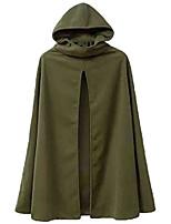 cheap -kljr women winter cloak cape overcoat jacket hooded split front trench coat army green us m