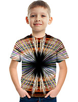cheap -Kids Boys' Tee Short Sleeve Graphic Children Tops Active Brown 3-12 Years