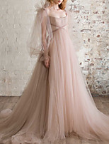 cheap -A-Line Elegant Boho Engagement Formal Evening Dress Scoop Neck Long Sleeve Sweep / Brush Train Tulle with Pleats Ruched 2021