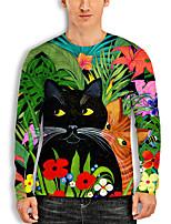 cheap -Men's Tunic 3D Print Cat Graphic Animal Print Long Sleeve Daily Tops Basic Casual Green