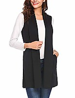 cheap -kulywon women casual sleeveless cape shawl pocket draped open front cardigan vest coat black