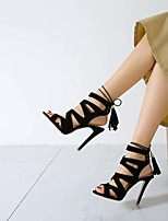 cheap -Women's Sandals Stiletto Heel Peep Toe PU Synthetics Black Burgundy Green
