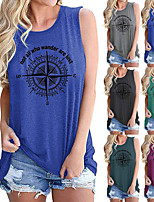 cheap -Women's Tank Top Tee / T-shirt Pure Color Crew Neck Cotton Sport Athleisure Top Sleeveless Breathable Soft Comfortable Everyday Use Street Casual Daily Outdoor