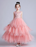 cheap -Princess / Ball Gown Jewel Neck Ankle Length Tulle Junior Bridesmaid Dress with Bow(s) / Appliques