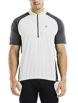 cheap -men's reflective short sleeve cycling jersey with zipper pocket quick-dry breathable biking shirt (white, xl)