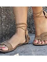 cheap -Women's Sandals Boho Bohemia Beach Flat Heel Round Toe PU Synthetics Camel Black