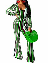 cheap -women's sexy long sleeve jumpsuits - striped bodycon one piece jumpsuit wide leg flare pants romper red s