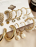 cheap -pearl ladies earrings creative french retro gold earring set 6 piece