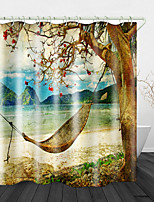 cheap -Retro Landscape Print Waterproof Fabric Shower Curtain for Bathroom Home Decor Covered Bathtub Curtains Liner Includes with Hooks