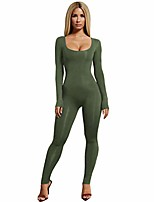cheap -women jumpsuits,solid crew neck long sleeve slim fit tight bodysuit stretchy night club jumpsuits green