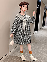 cheap -girls spring and autumn plaid shawl dress 2021 big kids korean version of the new long-sleeved loose dress princess dress