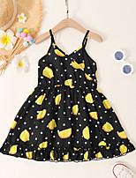 cheap -Kids Toddler Little Girls' Dress Graphic Sundress Print Black Knee-length Sleeveless Active Dresses Summer Regular Fit 2-8 Years