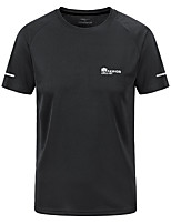 cheap -Men's T shirt Hiking Tee shirt Short Sleeve Crew Neck Tee Tshirt Top Outdoor Quick Dry Lightweight Breathable Sweat wicking Autumn / Fall Spring Summer POLY Dark Grey White Black Hunting Fishing