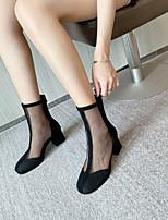 cheap -Women's Boots Block Heel Round Toe Mid Calf Boots Nubuck Mesh Solid Colored Black Beige / Mid-Calf Boots