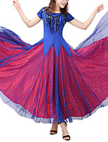 cheap -Ballroom Dance Dress Paillette Tulle Women's Training Performance Cap Sleeve Natural Poly&Cotton Blend