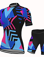cheap -Women's Short Sleeve Cycling Jersey with Shorts Spandex Blue Bike Breathable Quick Dry Sports Geometric Mountain Bike MTB Road Bike Cycling Clothing Apparel / Stretchy / Athletic / Athleisure