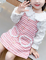 cheap -Toddler Little Girls' Dress Heart Birthday Party Festival Blushing Pink Knee-length Long Sleeve Cute Dresses New Year Regular Fit 2-8 Years