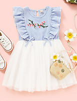 cheap -Kids Toddler Little Girls' Dress Graphic Print Blue Knee-length Sleeveless Active Dresses Summer Regular Fit 2-8 Years