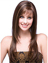 cheap -Synthetic Wig Natural Straight Layered Haircut Neat Bang Wig Medium Length Light Brown Synthetic Hair 57 inch Women's Cosplay Party Fashion Brown