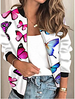 cheap -Women's Animal Patterned Print Active Spring &  Fall Jacket Regular Daily Long Sleeve Air Layer Fabric Coat Tops White